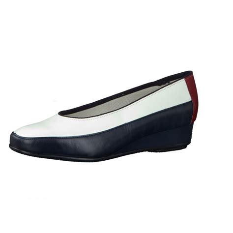 45030 24 navy white leather wedge shoe