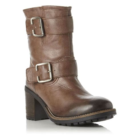 dune womens brown ransell leather grip sole biker