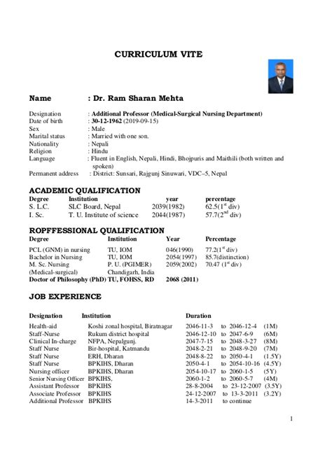 Job Resume Pattern by 1 Cv Of Dr Rs Mehta