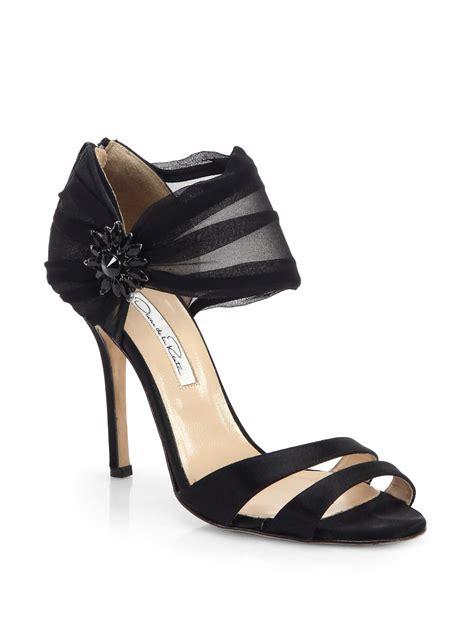satin sandals oscar de la renta jeweled satin sandals in black