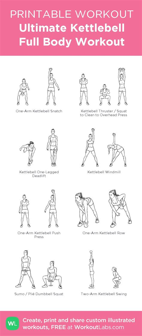 printable exercise routines home ultimate kettlebell full body printable workout my