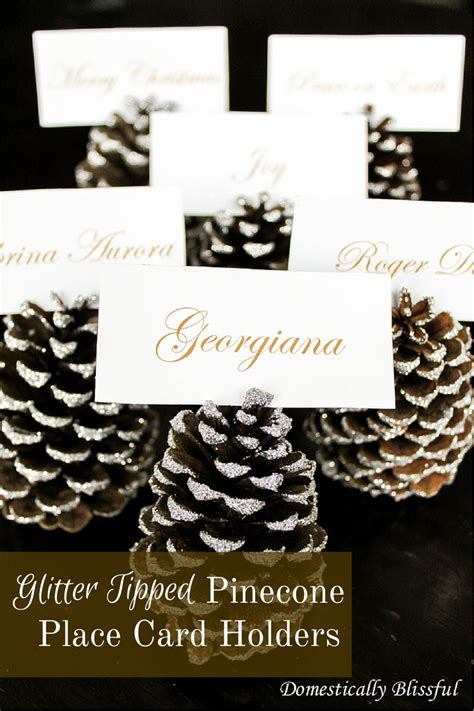 glitter placecard holders glitter tipped pinecone place card holders