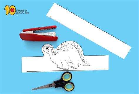 dinosaur paper crown printable template  minutes