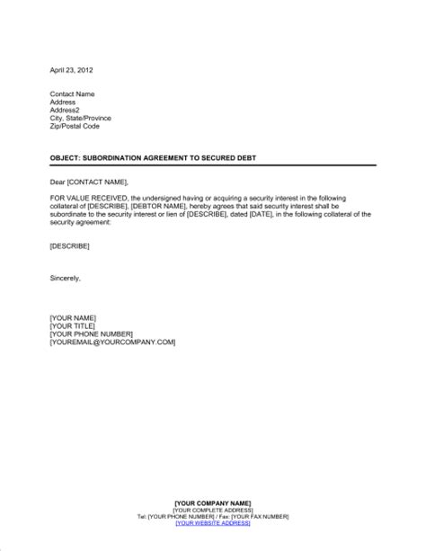 Loan Subordination Letter Sle Subordination Agreement To Secured Debt Template Sle Form Biztree