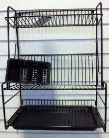 black plastic coated three tier dish drainer
