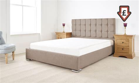 Bed Frame And Mattress Deals Uk Thames Textured Linen Bed Frame Groupon Goods