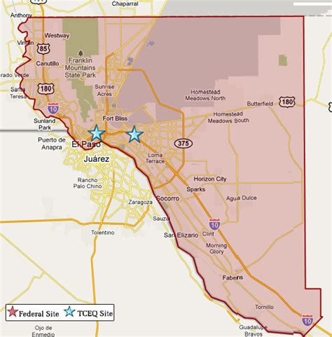 el paso texas on map superfund in el paso county tceq www tceq texas gov