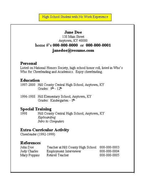 Resume Exles For Highschool Students With No Work Experience Resume For High School Student With No Work Experience Free Resume Templates