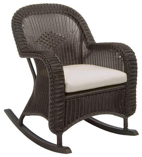 classic wicker plantation outdoor rocker with cushions