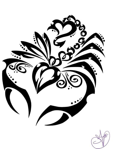 girly tribal black line scorpion tattoo design