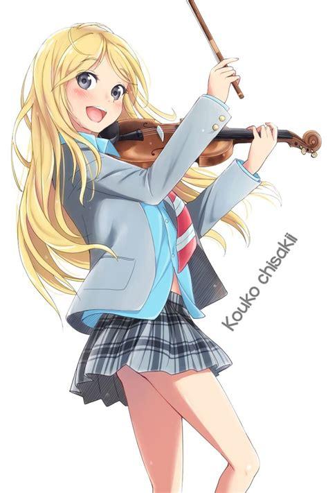 blonde anime schoolgirl shigatsu wa kimi no uso kaori render by koukochiisaki