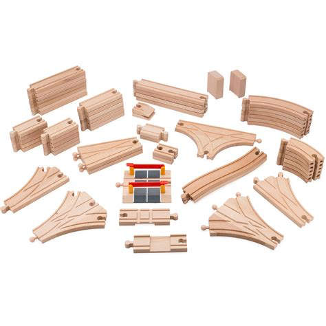 brio train track pieces playbees wooden train track toy set 59 pieces compatible w