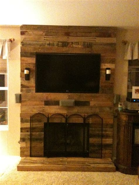 Laura Ashley Bench Pallet Fireplace Surround Made With Pallet Wood And 2x4