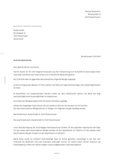 Anschreiben Muster Rechtsanwalt Forderungsschreiben Reisepreisminderung Smartlaw
