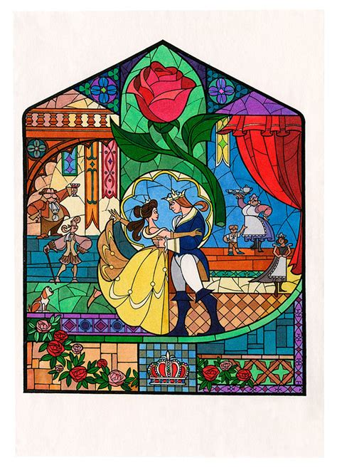Disney Princess Castle Wall Stickers image beauty and the beast concept art stained glass jpg