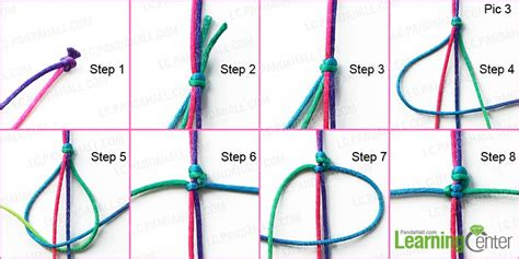 Braiding String Designs - how to braid a knotted friendship bracelet with rainbow