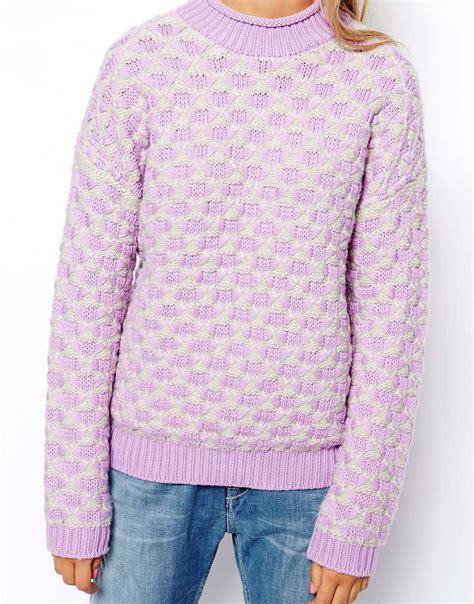 pattern wool jumper lyst asos chunky knit jumper in pattern in purple