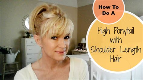 can u wear use hair up with a long non layered bob how to do a high ponytail with shoulder length hair youtube