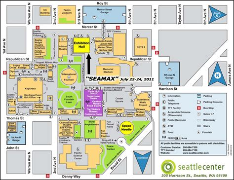 seattle map space needle sea max