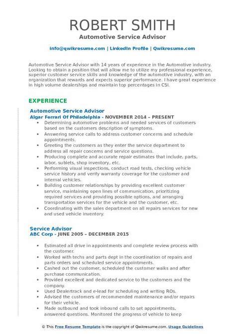 Service Advisor Resume Sles Qwikresume Automotive Service Advisor Resume Template