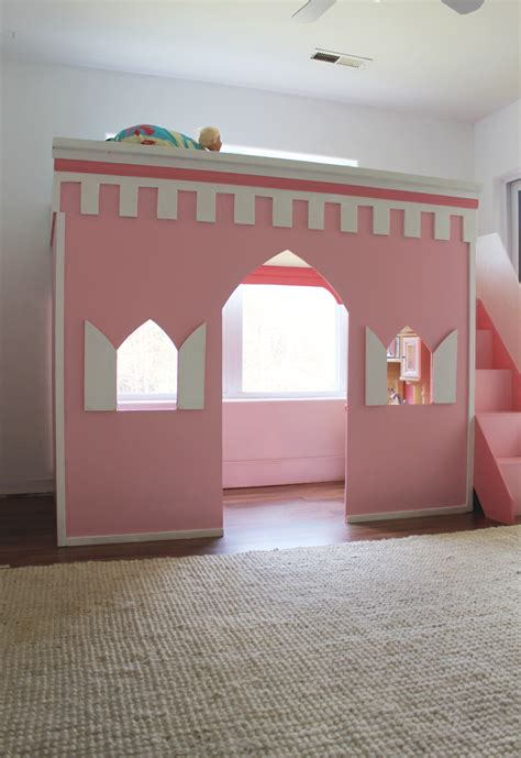 Castle Loft Bed by Remodelaholic How To Build A Princess Castle Loft Bed