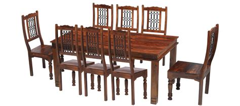 8 Chair Dining Table Sets Jali Sheesham 200 Cm Chunky Dining Table And 8 Chairs Quercus Living