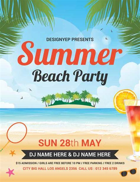 template flyer beach freepsdflyer summer beach party free flyer psd template