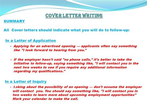 what should be said in a cover letter by h 220 seyin g 220 rsev ppt