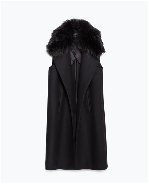 Zara Vest zara waistcoat with faux fur collar in black lyst