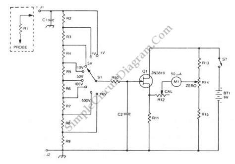 fet buffered analog voltmeter simple circuit diagram