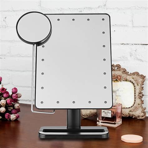 light up cosmetic mirror portable 20 leds lighted touch screen makeup cosmetic