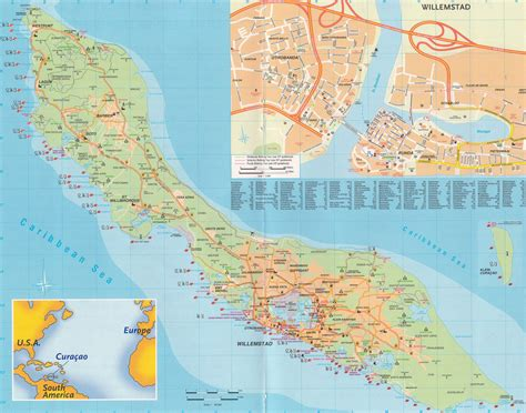 netherlands curacao map large detailed road map of curacao island netherlands