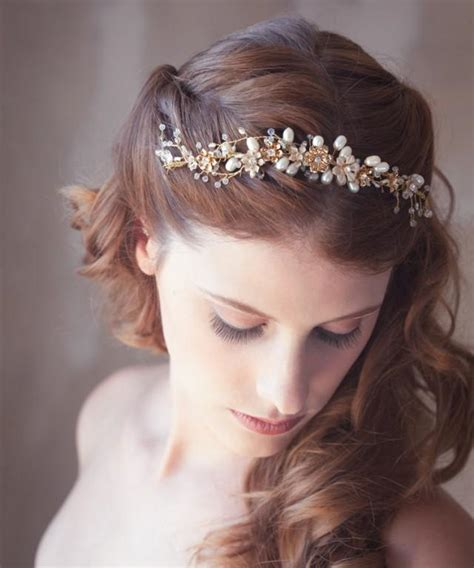 Wedding Hair Accessories Gold by Golden Flower Hair Vine Gold Bridal Hair Vine Bridal