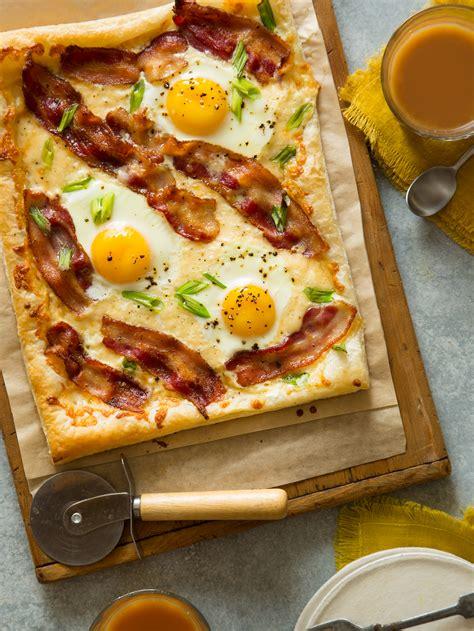 breakfast tart spoon fork bacon