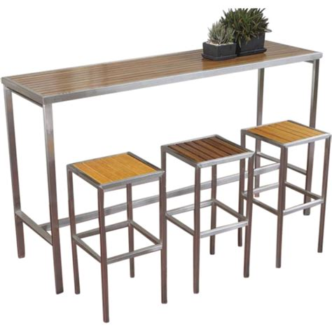 Indoor Bar Table Hayman Outdoor High Bar Table Stainless Steel And Teak Wood Couture Designer Homewares