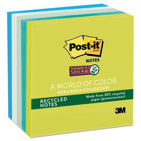 Paper Ink Stick Label Post Its Memo Tempel Kecil post it notes sticky recycled notes in bora bora colors 3 x 3 90 sheet 5 pack