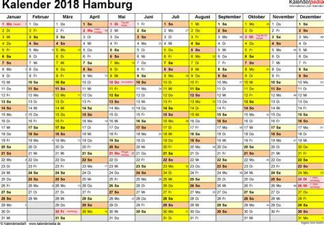 Kalender 2018 Mit Feiertagen Hamburg Kalender 2018 Hamburg Ferien Feiertage Excel Vorlagen