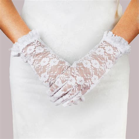 Flower Wedding Gloves glv843 wedding gloves w flowers and lace