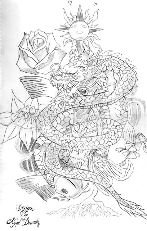 koi fish with dragon tattoo designs koi fish design by designsbykyaldearing on