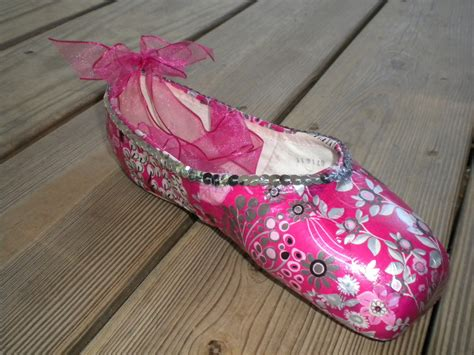 Decorated Shoes by Pink And Silver Decorated Ballet Pointe Shoe