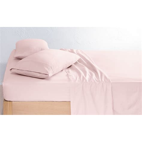 225 thread count vintage wash sheet set king bed pink