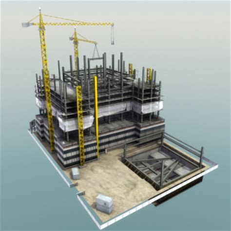 building construction site 3d model game ready .max .obj