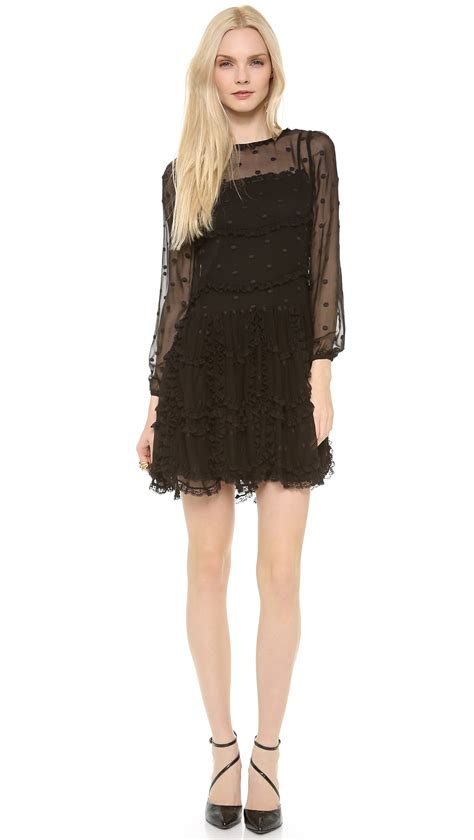 Dress Lace Polka lyst valentino polka dot lace dress in black