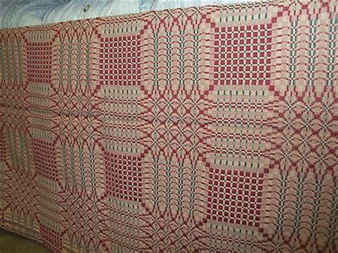 family heirloom weavers coverlets table throw 50 x 78 pine burr pattern by family