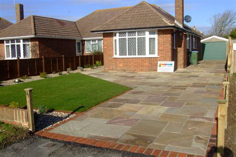 How To Lay Brick Patio Garden Design Formal Driveway In Indian Sandstone Brick