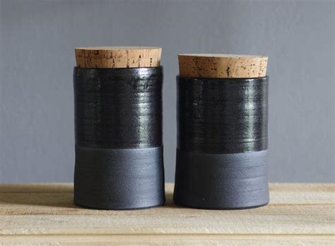 contemporary canisters for kitchen medium size of smart kitchen corked canister pair black stoneware with from vitrifiedstudio