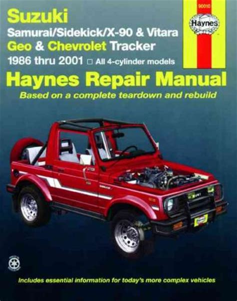 automotive repair manual 1992 suzuki samurai user handbook suzuki sierra vitara 1986 2001 workshop repair manual workshop car manuals repair books