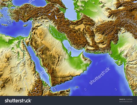 east egypt pakistan shaded relief stock illustration