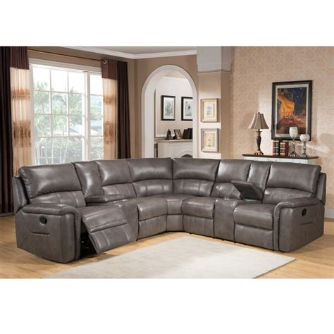 leather reclining sectional sofas cortez premium top grain gray leather reclining sectional