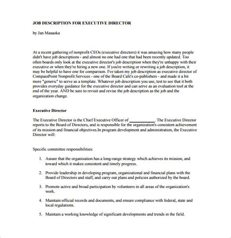 Non Profit Executive Director Report Template